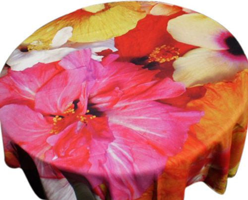 Tablecloth with hibiscus print