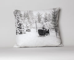 Winter Sleigh Ride- Park Hotel, Switzerland Cushion