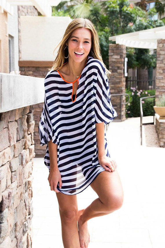 a61bfccbb8637 The Sandy Beach Cover Up Black and White Stripe – Ombre' Rene'