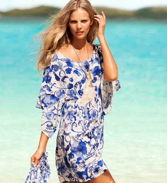 8534b27f0a7 Swimsuit Cover Up Blue White Floral Beach Cover Up Flower Kimono Bikin –  Ombre' Rene'