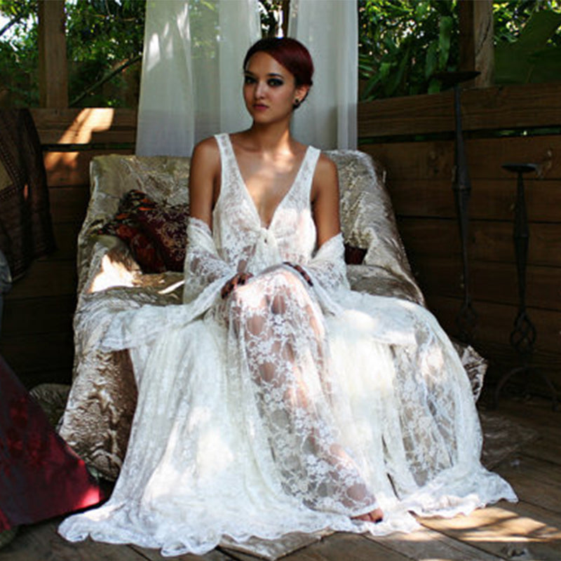 The Aphrodite Lace White Beach Wedding Dress With Bohemian Crochet