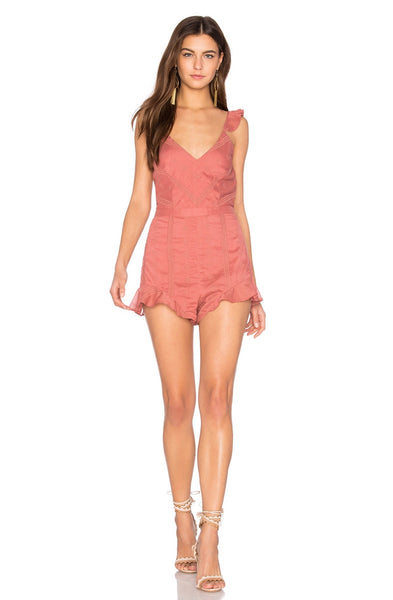 Getaway Moss Coral Striped Romper by TJD