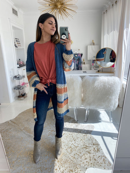 Carrie Color Block Cardigan Sweater
