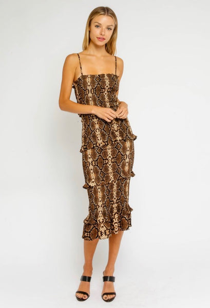 Sena Snake Smocked Midi Dress