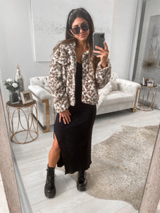 White Leopard Faux Fur Jacket