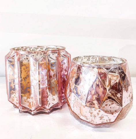 15.8oz Pink Mercury Glass Sweet Grace Candle Jar