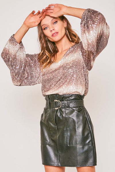 Sparkle City Sequin Balloon Sleeve Top in 3 Colors