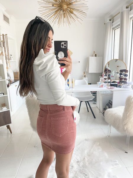 Shooting Star Metallic Corduroy Skirt in Rose