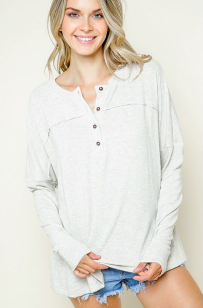 Jolene Button Up Henley Tee