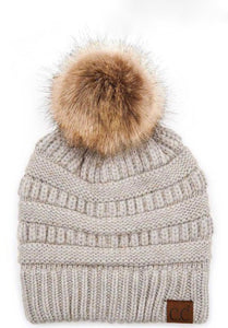 C.C. Fur Pom Beanie in 5 Colors
