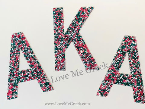 AKA Crushed Rhinestone Greek Letter Patches