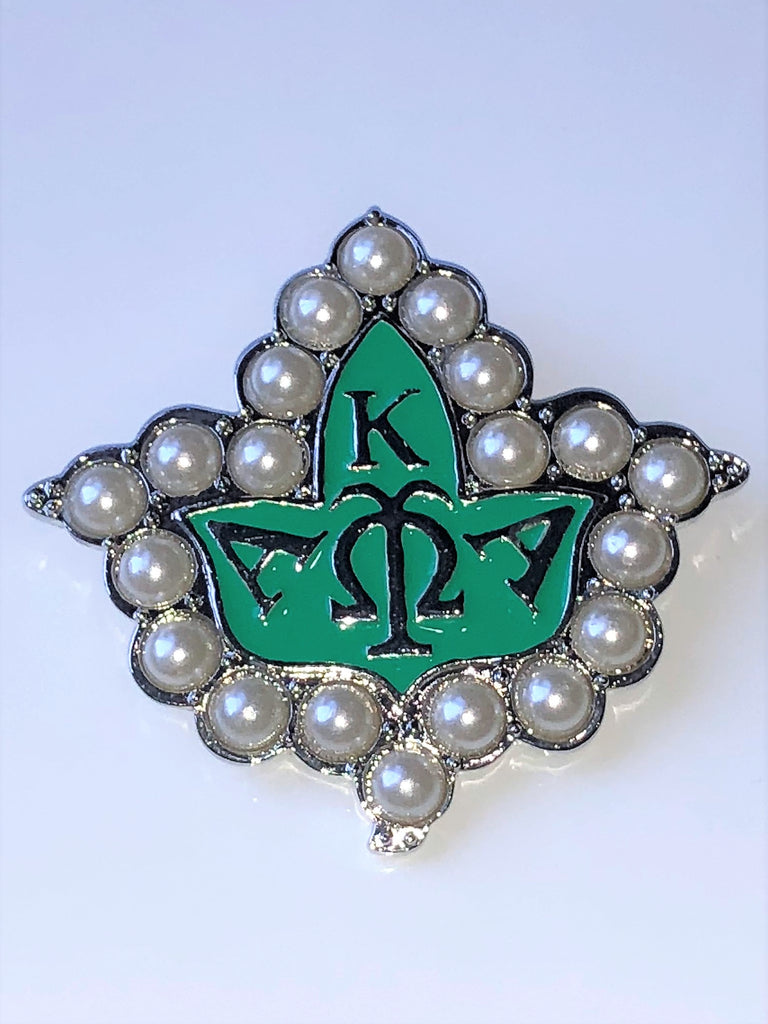 Large Ivy Pin with pearls in Green