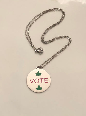 Pink and Green Vote Necklace