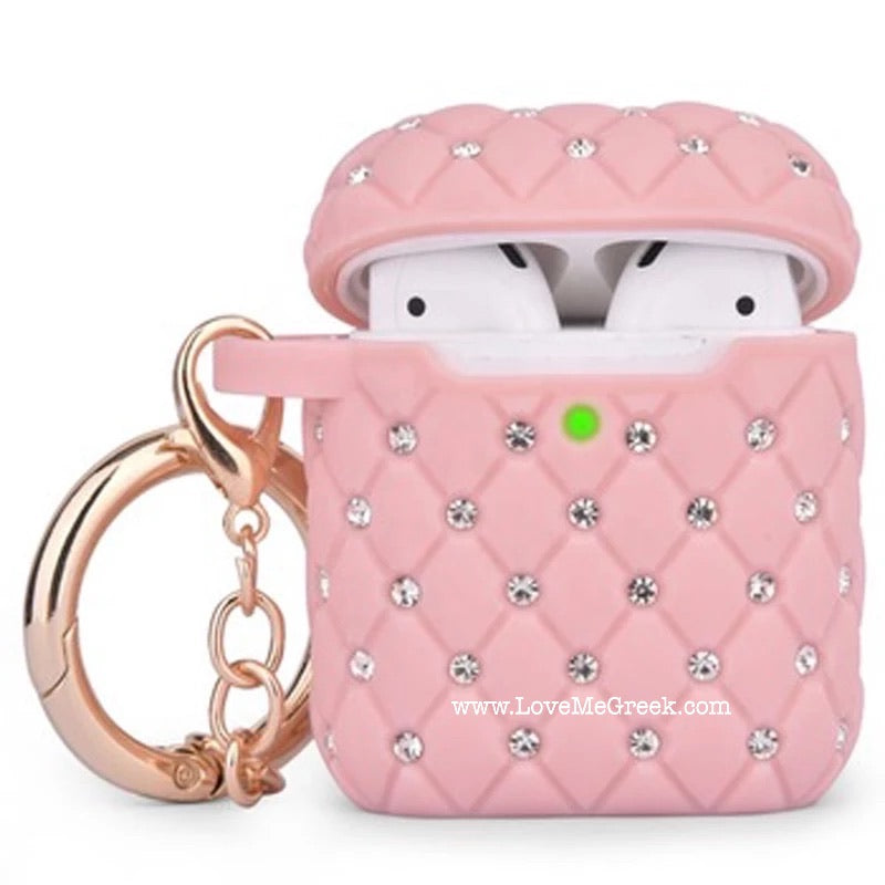 Pink Quilted Bling AirPod case
