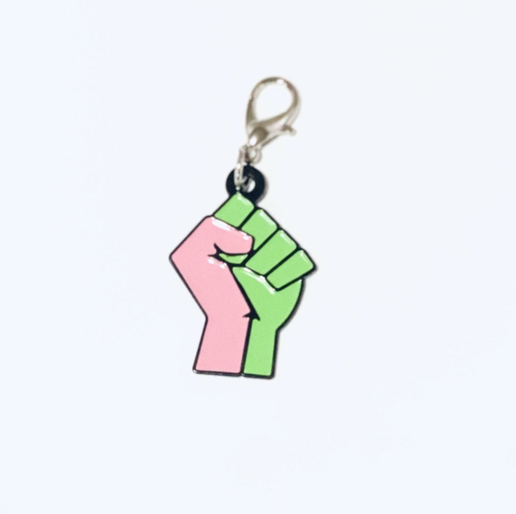 Pink and Green Fist Key Ring Charm