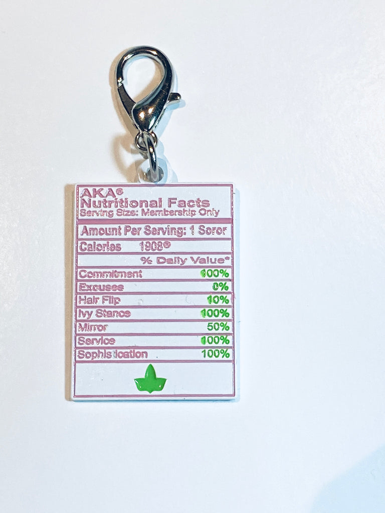 AKA Nutritional Facts Key Ring Charm