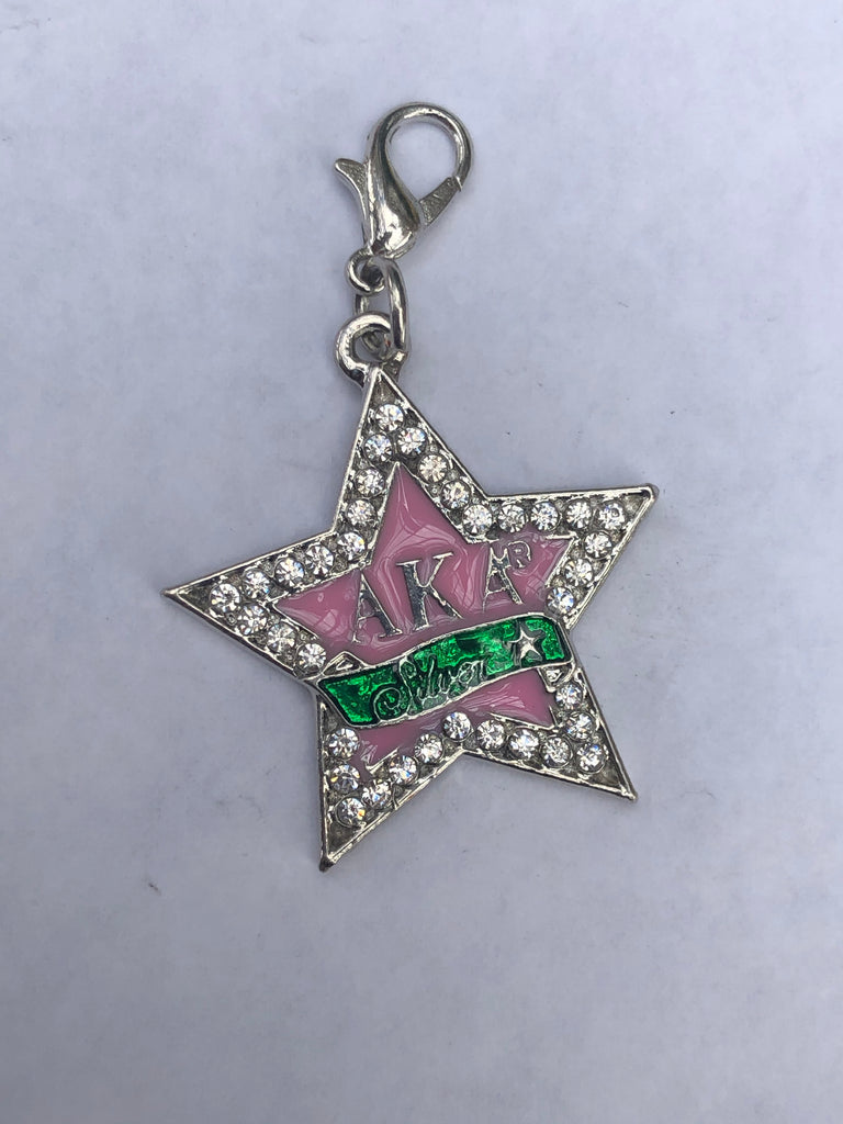 Silver Star with Pink Inlay Charm