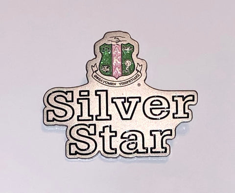 Silver Star Shield Lapel Pin