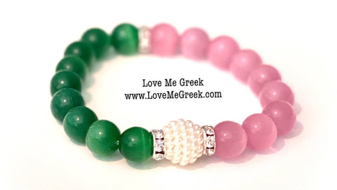 Pink and Green Cat Eye Beads with Pearl Bracelet