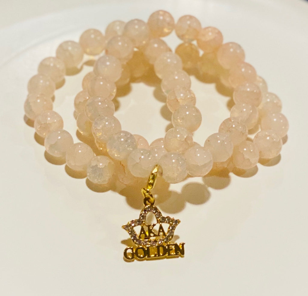 Golden Crackle Bracelet with Charm