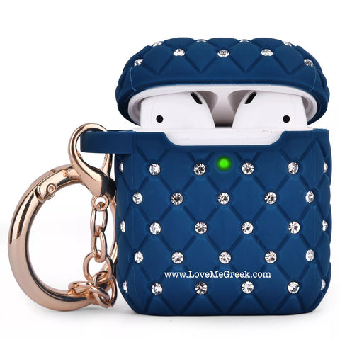 Blue Quilted Bling AirPod Case
