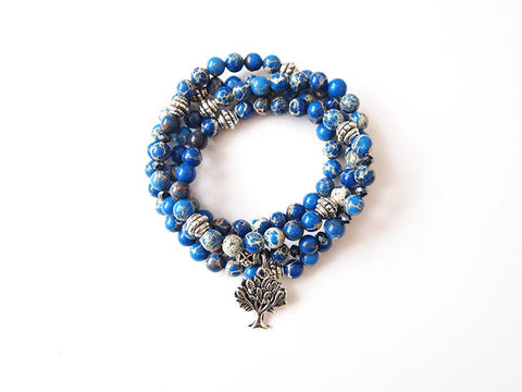 Blue Imperial Jasper Tree of Life Mini Mala