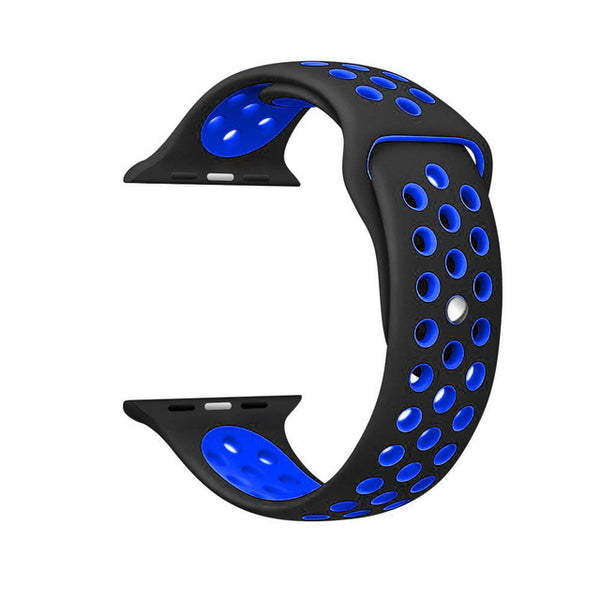Black / Blue Perforated Sport Band compatible for Apple Watch / Apple Watch Sport ( 38 mm , 42 mm )