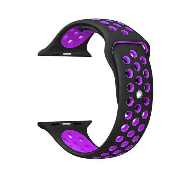 Black / Purple Perforated Sport Band compatible for Apple Watch / Apple Watch Sport ( 38mm / 40mm  , 42mm / 44mm )