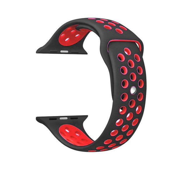 Black / Red Perforated Sport Band compatible for Apple Watch / Apple Watch Sport ( 38 mm , 42 mm )