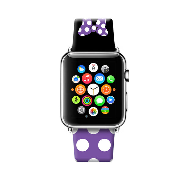 Custom Apple Watch Strap Purple Black Inspired by Minnie 38 mm 42 mm
