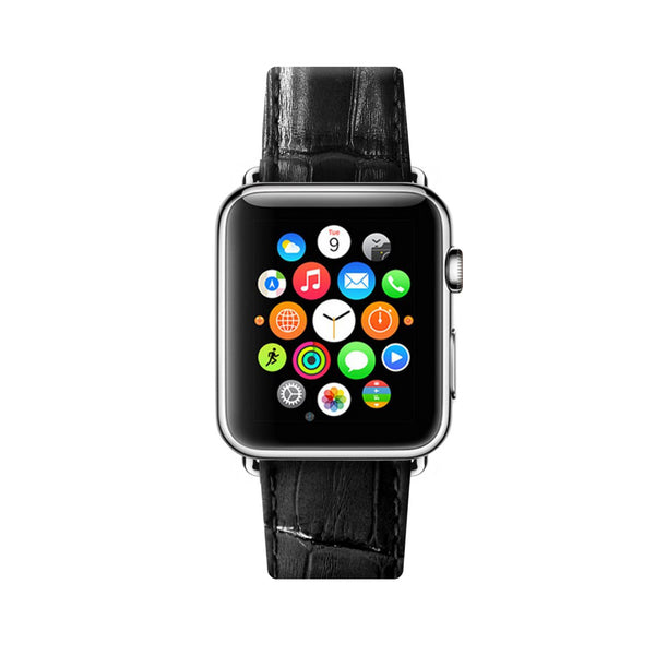 Black Apple Watch Leather Strap Band  38mm / 40mm  , 42mm / 44mm