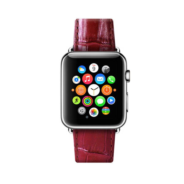 Red Apple Watch Leather Strap Band  38mm / 40mm  , 42mm / 44mm