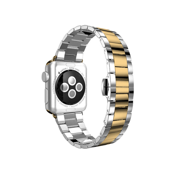 Silver with Yellow Gold Stainless Steel Strap Band Bracelet for Apple Watch / Apple Watch Sport / Apple Watch Edition at Ultra-case.com