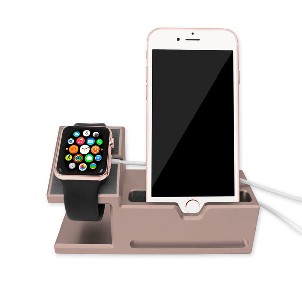 Aluminium Dock Station for iPhone and Apple Watch - Rose Gold