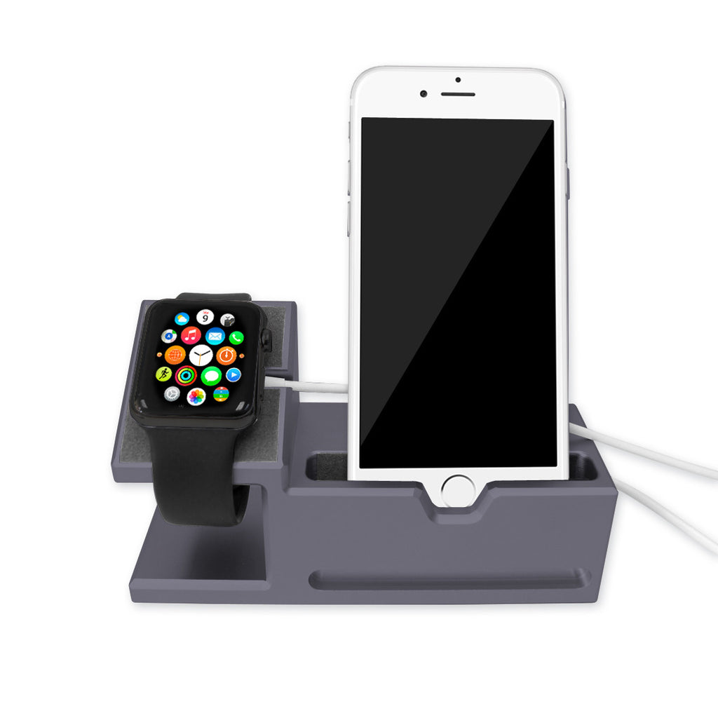 space grey aluminium dock station for apple watch iphone. Black Bedroom Furniture Sets. Home Design Ideas