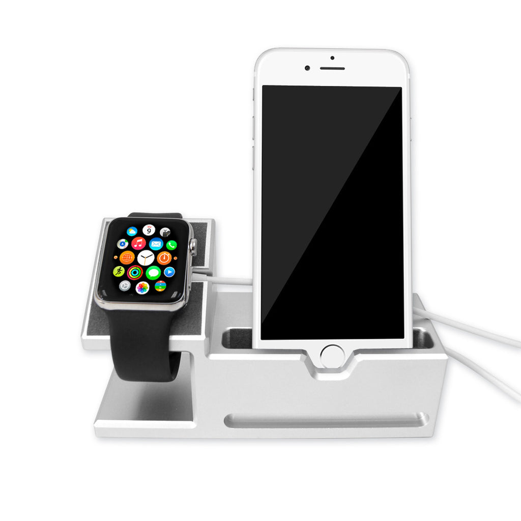 silver aluminium dock station for apple watch iphone ultracase. Black Bedroom Furniture Sets. Home Design Ideas