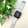 Chrysanthemum White Floral Pattern Apple Watch Strap Band 38 42 mm | Ultra-case.com