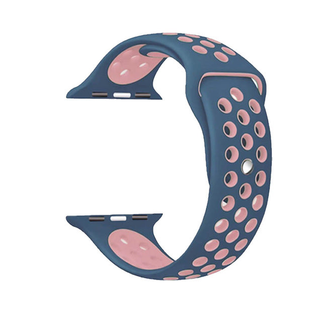 Blue / Pink Perforated Sport Band compatible for Apple Watch / Apple Watch Sport ( 38mm / 40mm  , 42mm / 44mm )