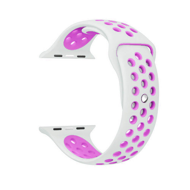 White / Purple Perforated Sport Band compatible for Apple Watch / Apple Watch Sport ( 38mm / 40mm  , 42mm / 44mm )