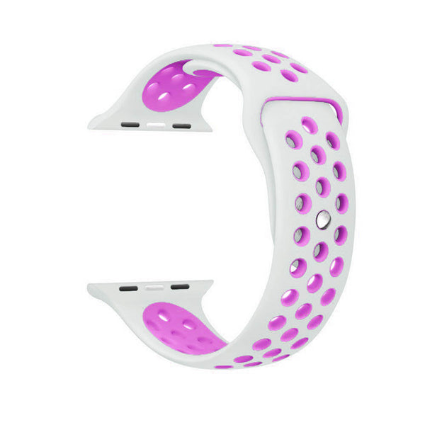 White / Purple Perforated Sport Band compatible for Apple Watch / Apple Watch Sport ( 38 mm , 42 mm )