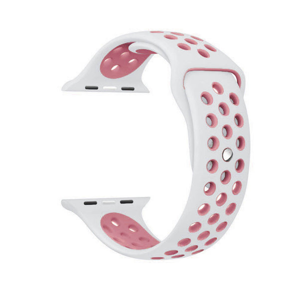 White / Pink Perforated Sport Band compatible for Apple Watch / Apple Watch Sport ( 38mm / 40mm  , 42mm / 44mm )