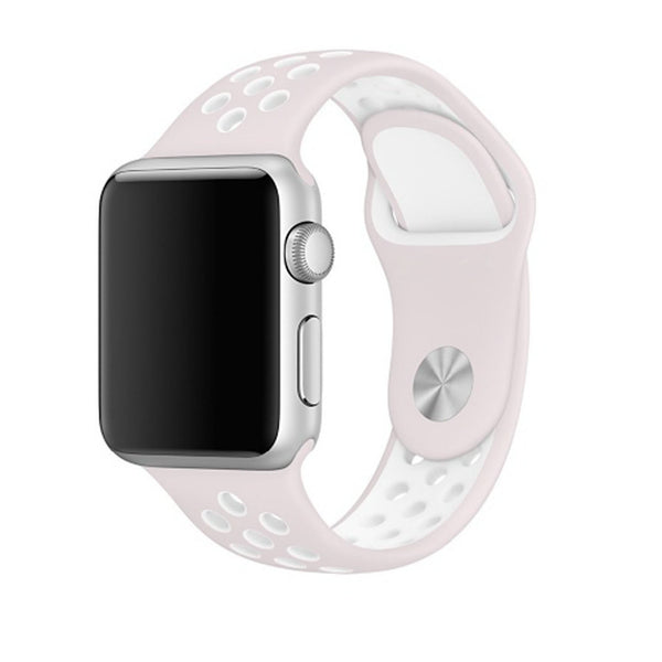 Soft Pink / White Perforated Sport Band compatible for Apple Watch / Apple Watch Sport ( 38mm / 40mm  , 42mm / 44mm )