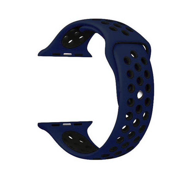 Dark Blue / Black Perforated Sport Band compatible for Apple Watch / Apple Watch Sport ( 38mm / 40mm  , 42mm / 44mm )