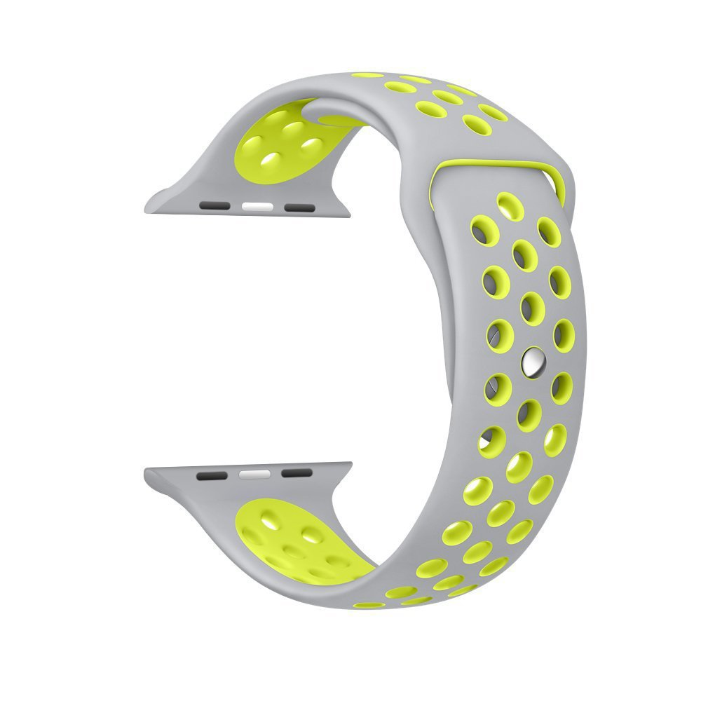 Silver / Yellow Perforated Sport Band compatible for Apple Watch / Apple Watch Sport ( 38mm / 40mm  , 42mm / 44mm )