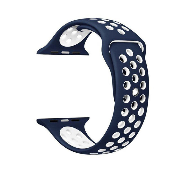 Dark Blue / White Perforated Sport Band compatible for Apple Watch / Apple Watch Sport ( 38mm / 40mm  , 42mm / 44mm )