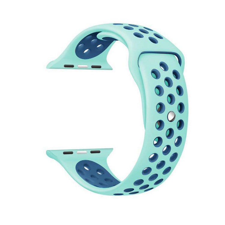 Green / Blue Perforated Sport Band compatible for Apple Watch / Apple Watch Sport ( 38mm / 40mm  , 42mm / 44mm )