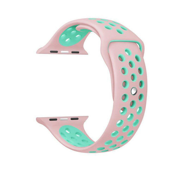 Pink / Green Perforated Sport Band compatible for Apple Watch / Apple Watch Sport ( 38mm / 40mm  , 42mm / 44mm )