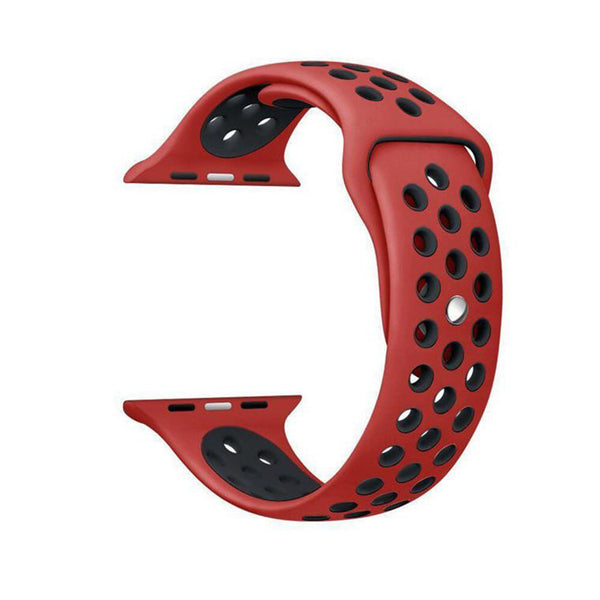 Red / Black Perforated Sport Band compatible for Apple Watch / Apple Watch Sport ( 38mm / 40mm  , 42mm / 44mm )