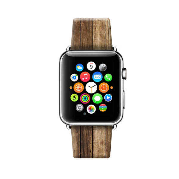Custom Apple Watch Strap Faux Wood Brown 38 mm 42 mm