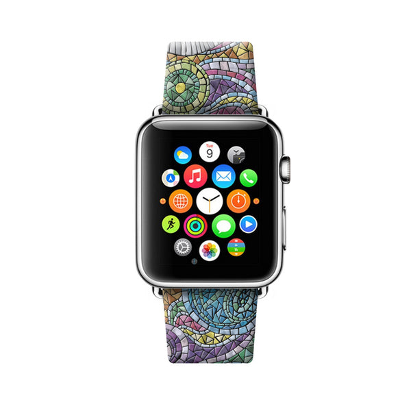 Custom Apple Watch Strap Art Mosaic pattern 38 mm 42 mm